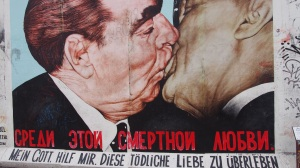 The photo of Erich Honecker and Leonid Brezhnev kissing, depicted as a mural in the East side gallery